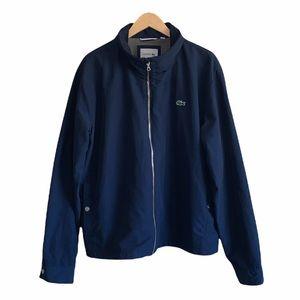 Lacoste navy blue zip front windbreaker jacket zip in hood size 3XL chest logo